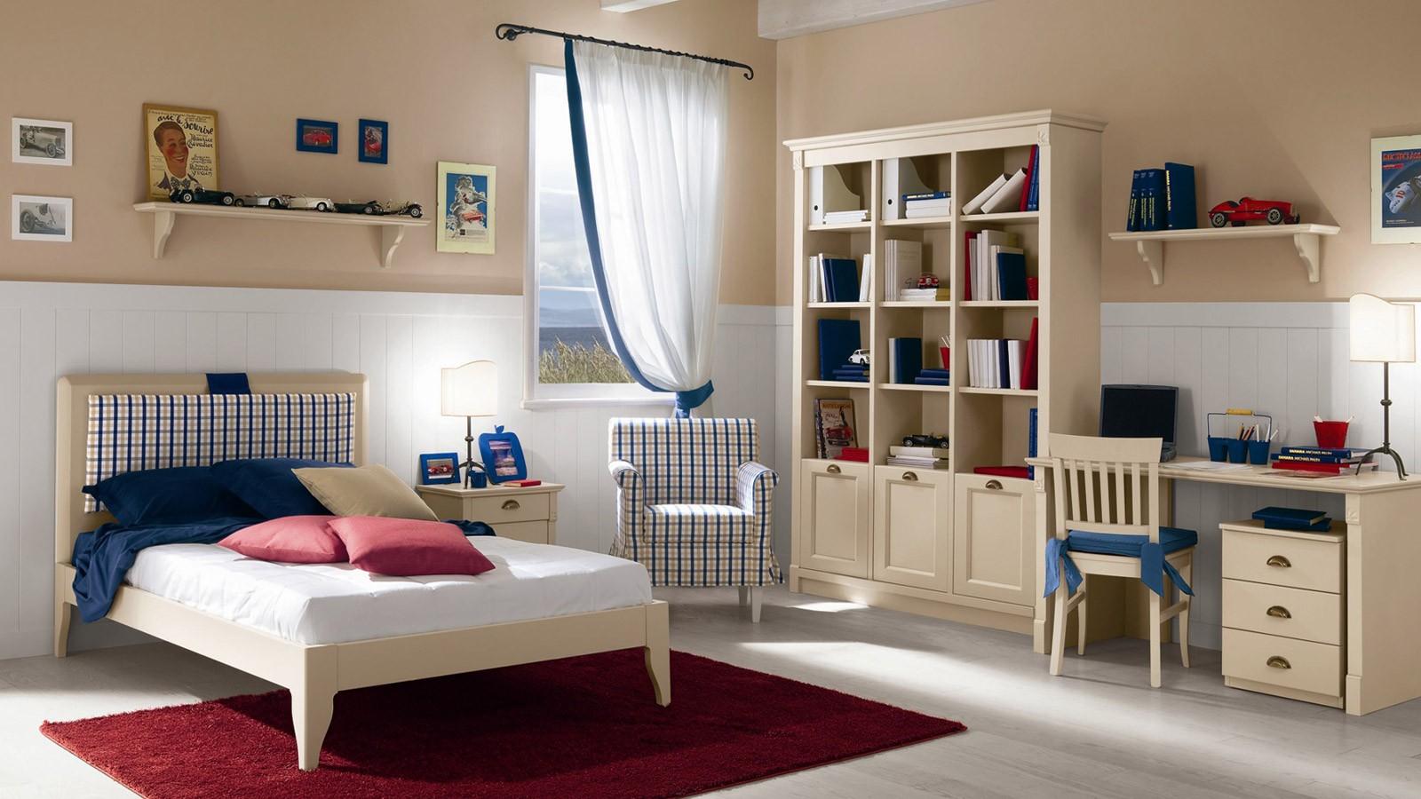 Бежевая мебель в комнате мальчика в стиле прованс