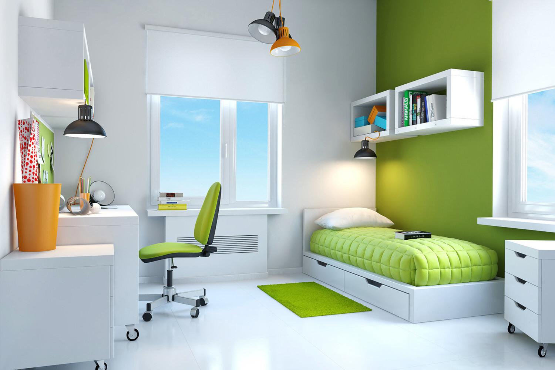 Бело-зеленая мебель для детской комнаты