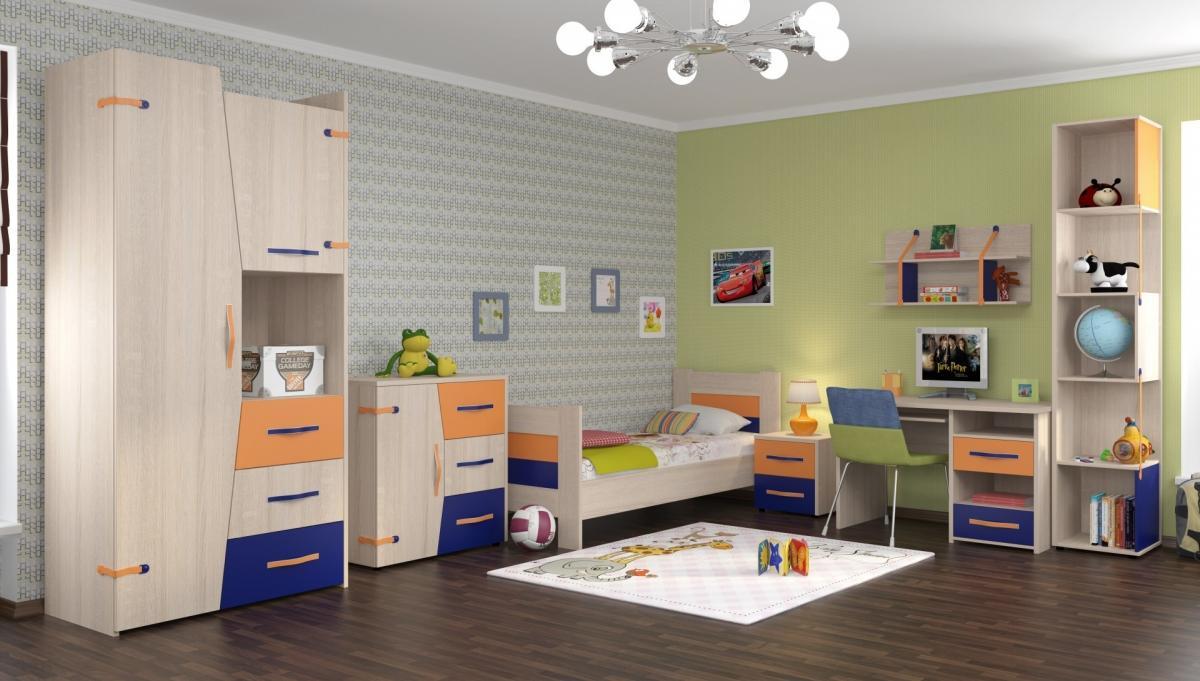 Оранжево-сине-бежевая мебель в комнате мальчика