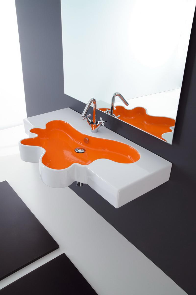 Оригинальная оранжево-белая раковина из искусственного камня