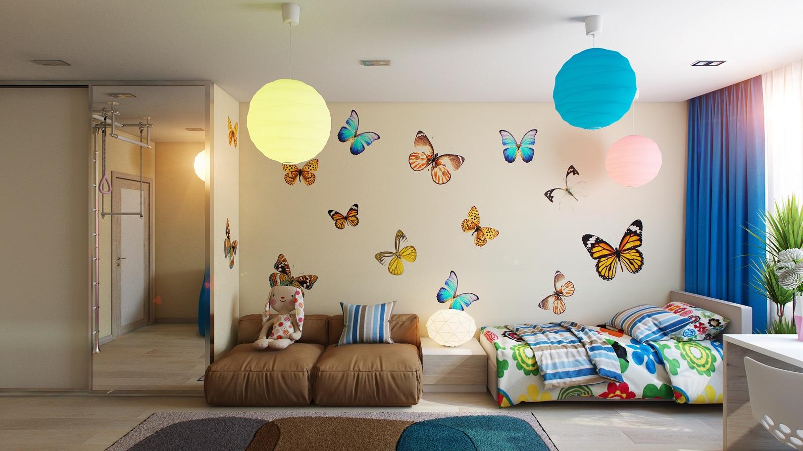 Бабочки наклейки в интерьере
