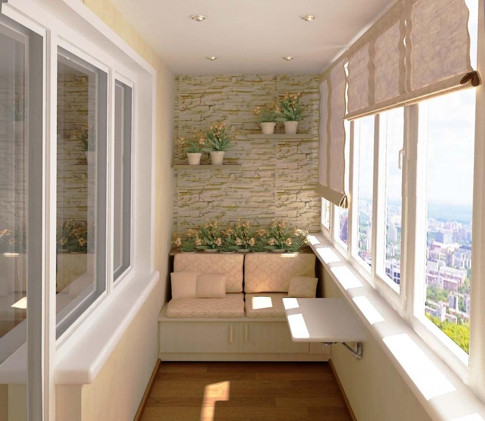 Декоративный камень в отделке балкона