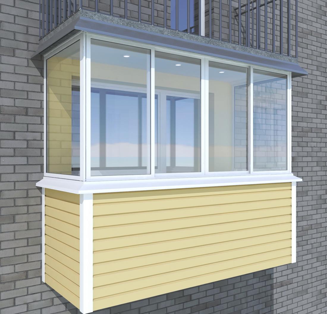 Бежевый сайдинг балкона