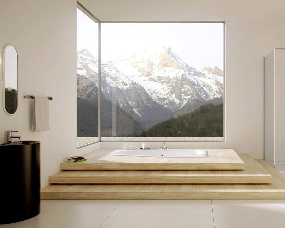 Панорамное угловое окно в ванной