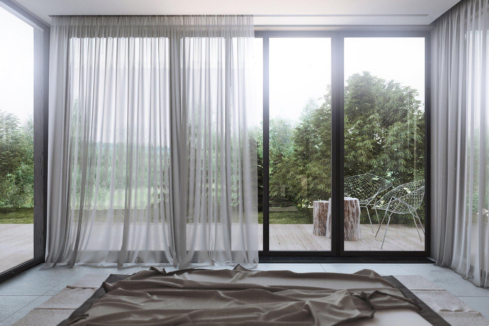 Панорамные окна в спальне