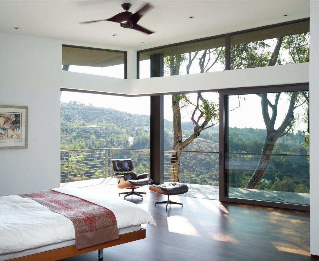 Панорамное остекление в интерьере спальни