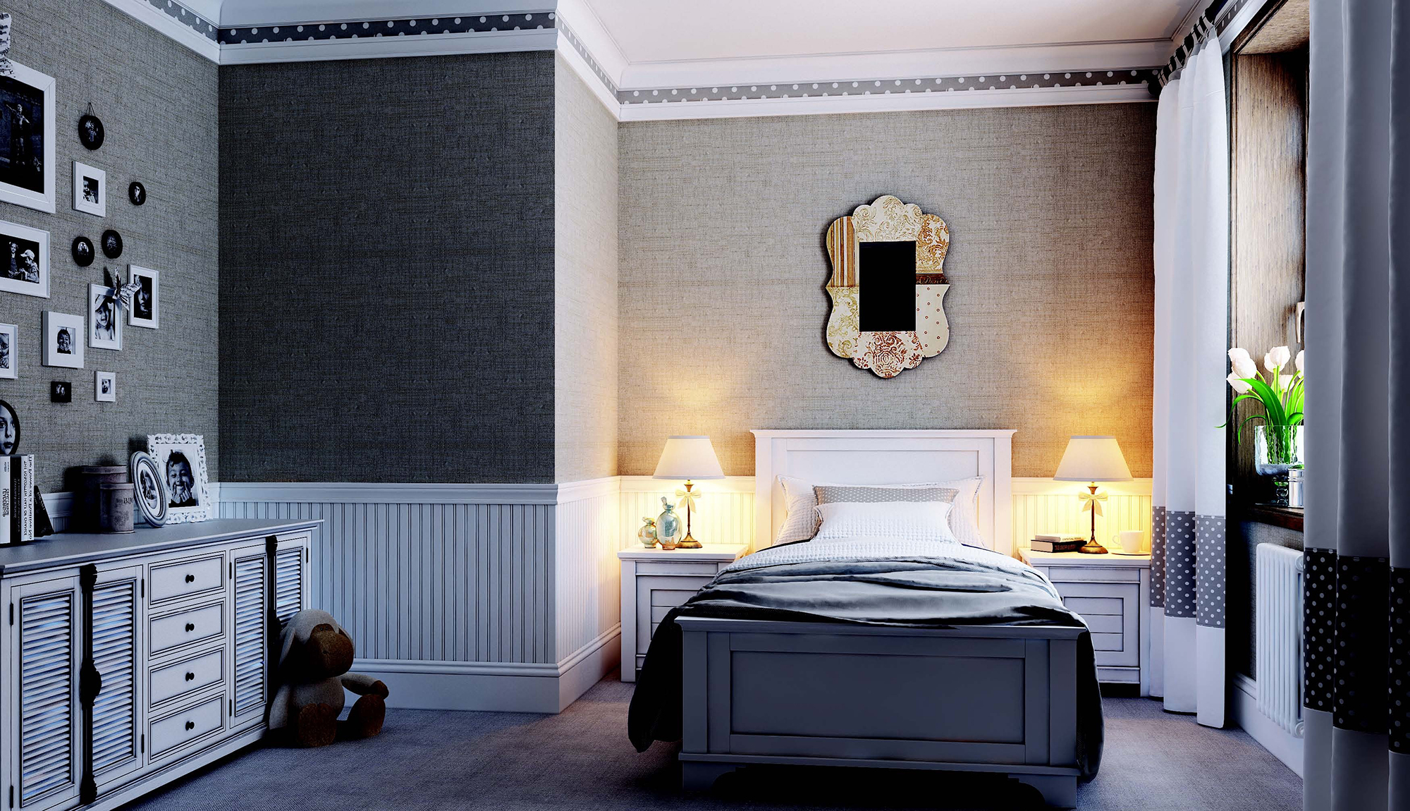 Двойные плинтуса на потолке в спальне