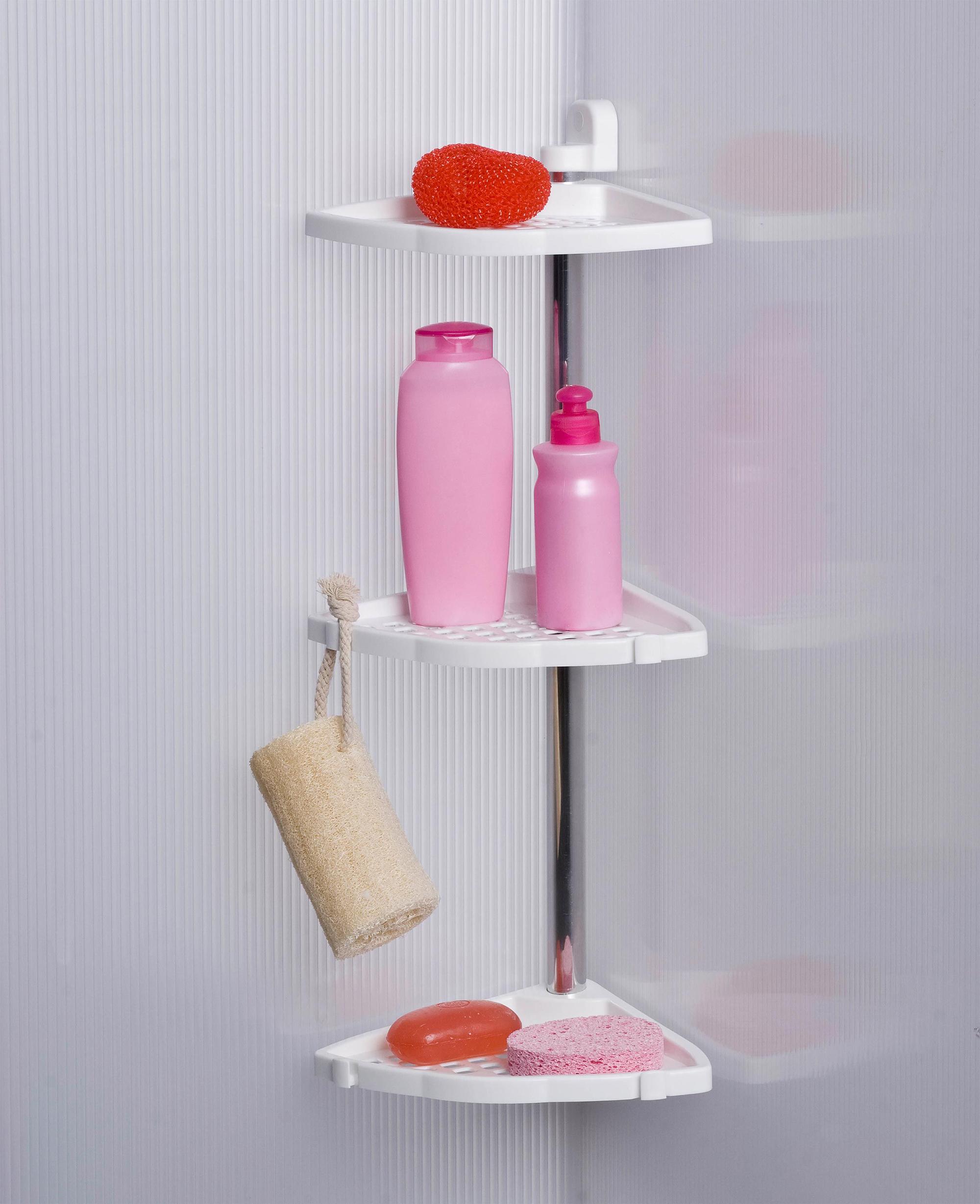 Угловые пластиковые полки в ванной