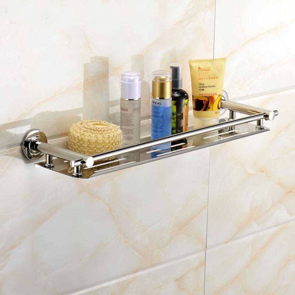 Полка из нержавеющей стали в ванной
