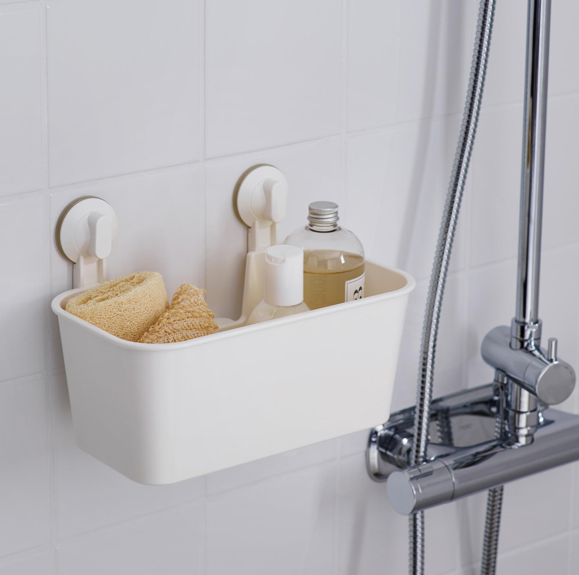 Белая корзинка с присосками для ванной