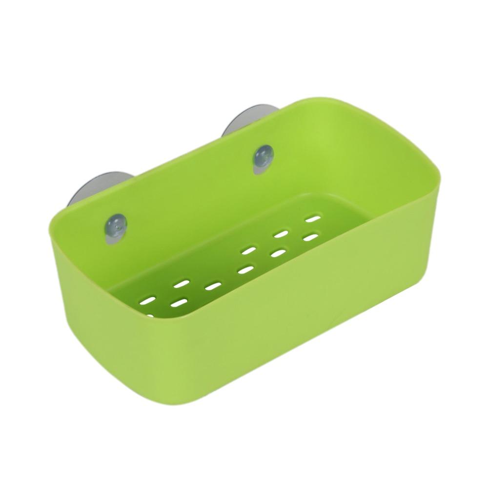 Зеленая пластиковая полка с присосками для ванной