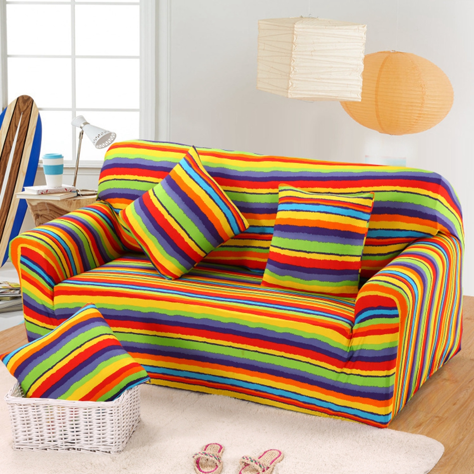Полосатый чехол на диван