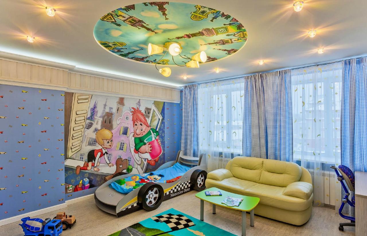 Тканевый потолок в комнате мальчика