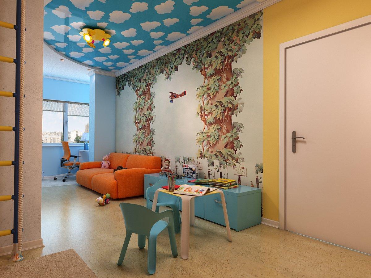 Двухуровневый потолок с облаками в детской комнате