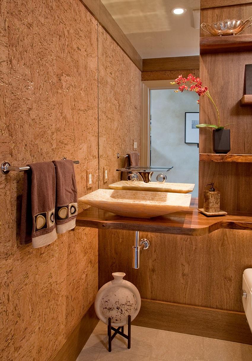 Пробковые обои в ванной комнате