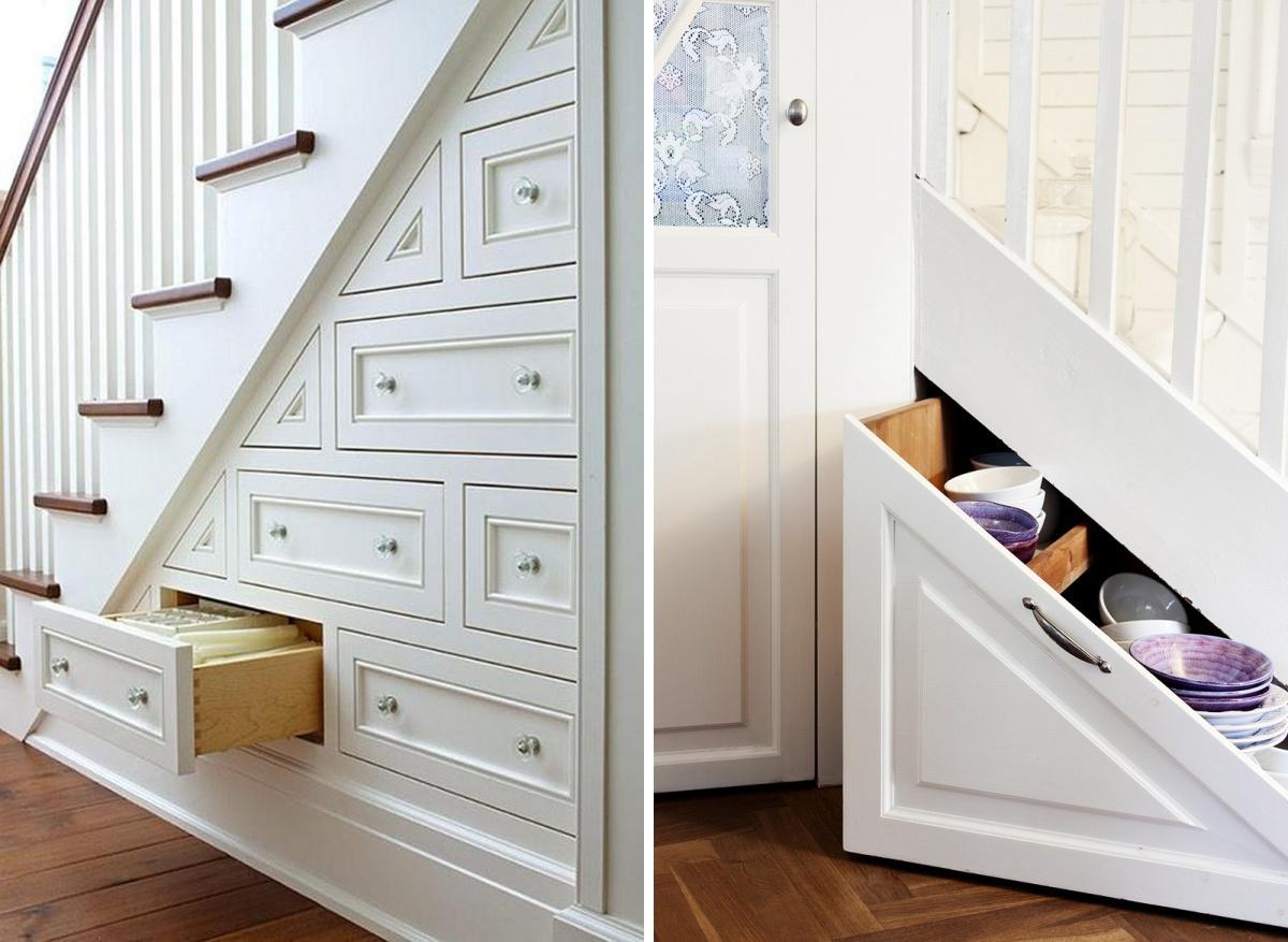 Ящики для хранения под лестницей в прихожей
