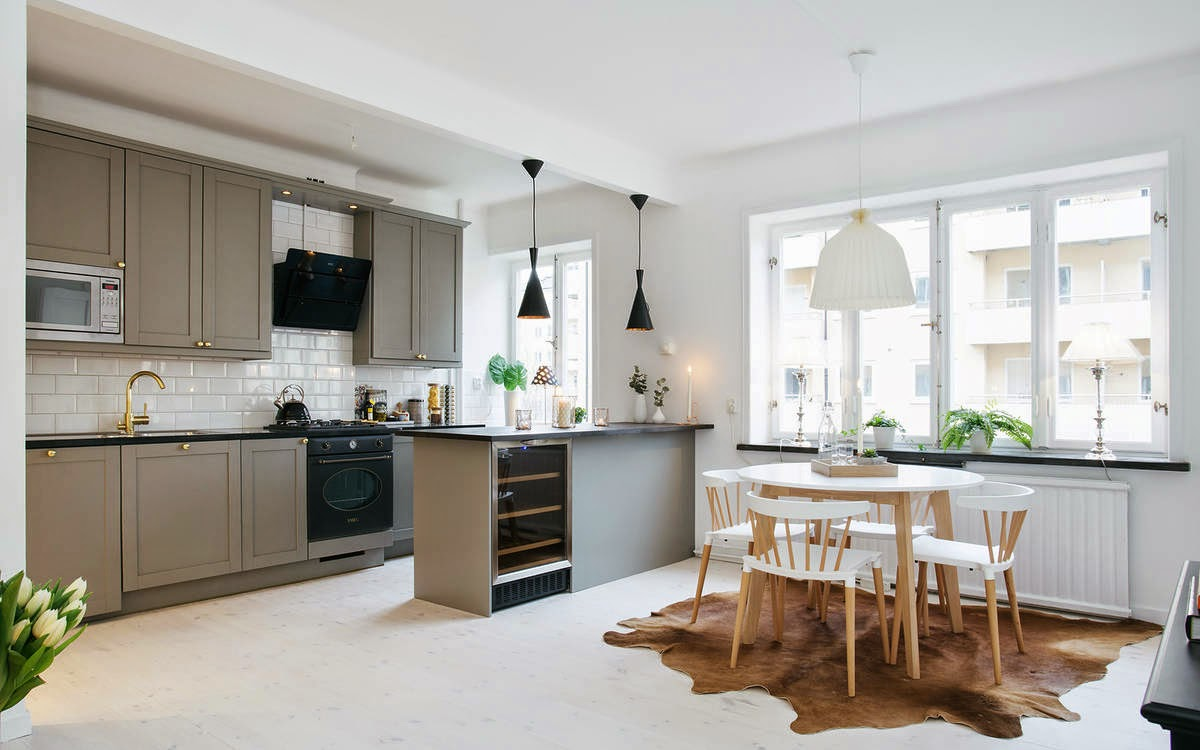 Дизайн кухни 20 кв м серый