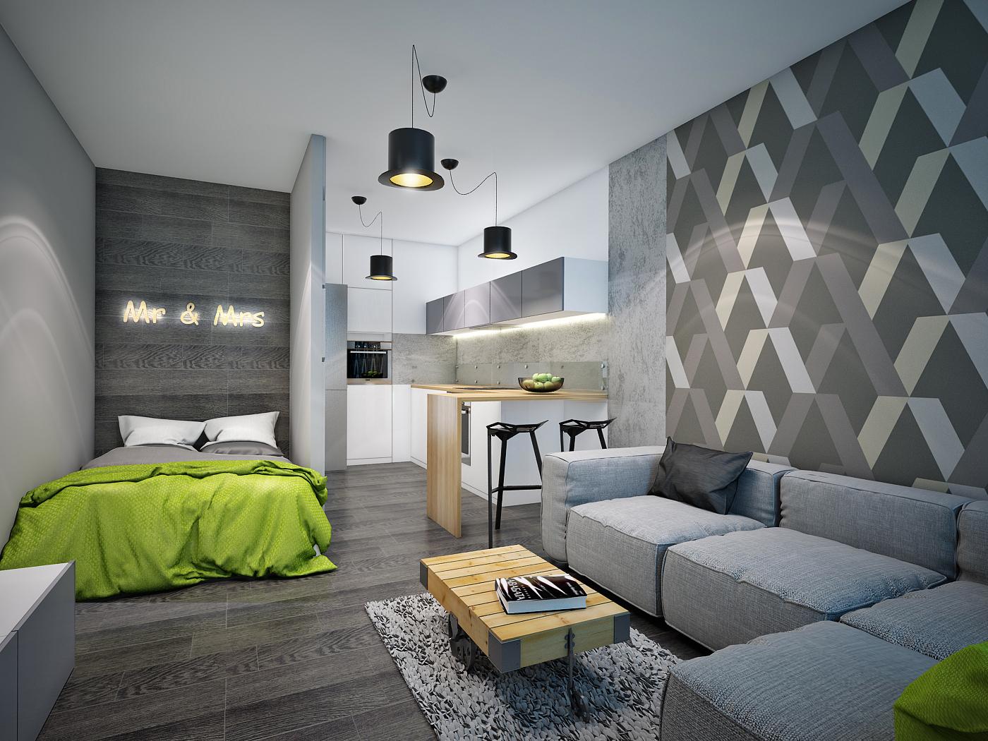 Серый и зеленый цвета в интерьере квартиры-студии