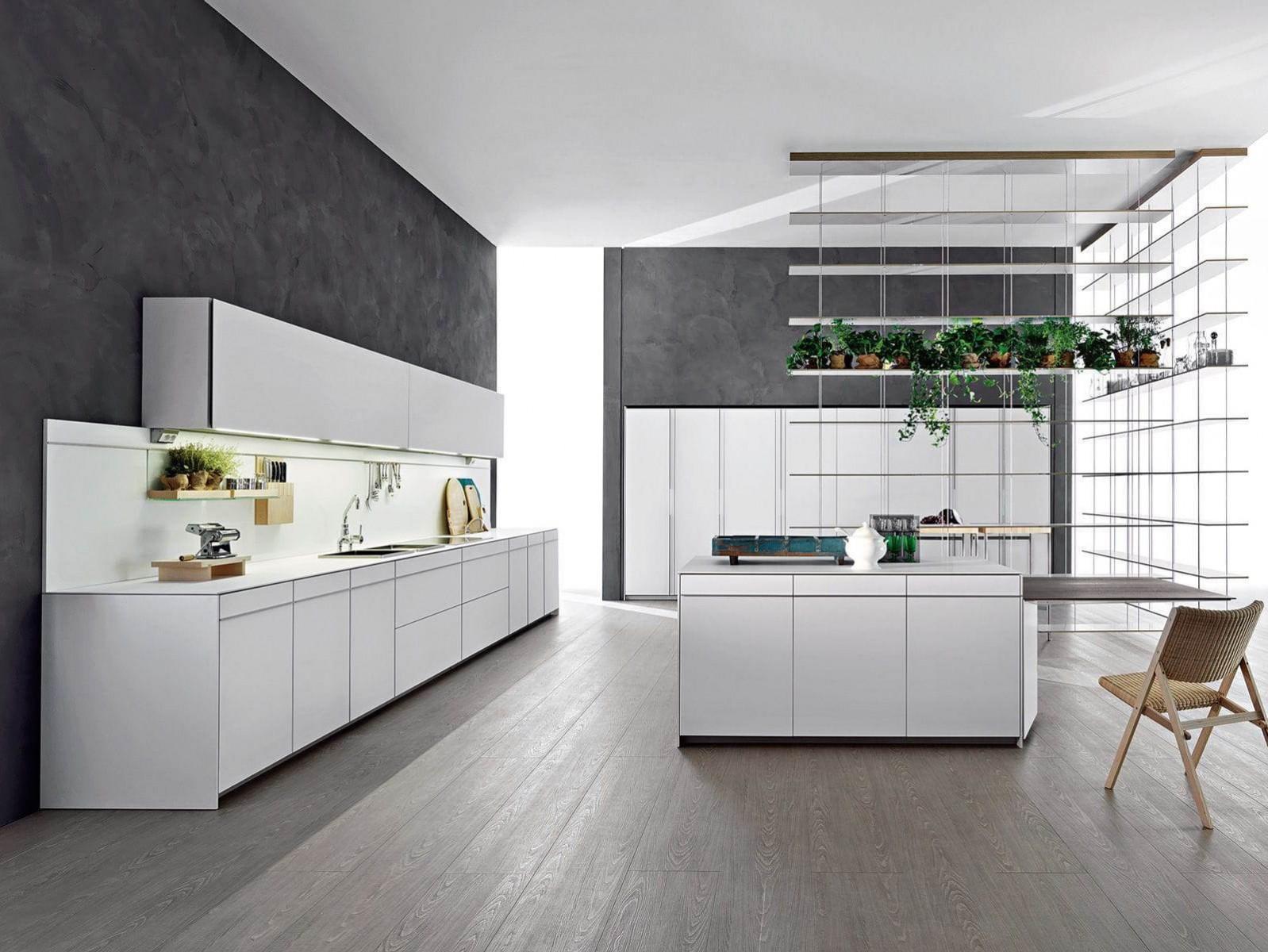 Серый пол в интерьере кухни