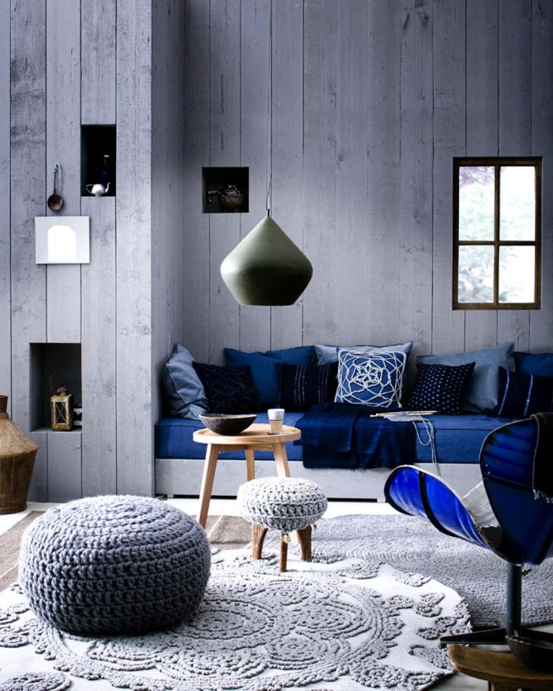 Серый и синий цвета в интерьере