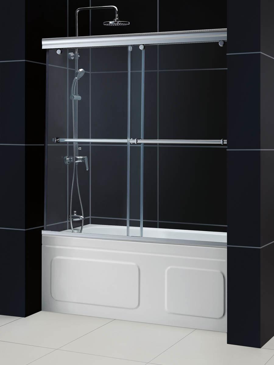 Раздвижная стеклянная шторка в ванной
