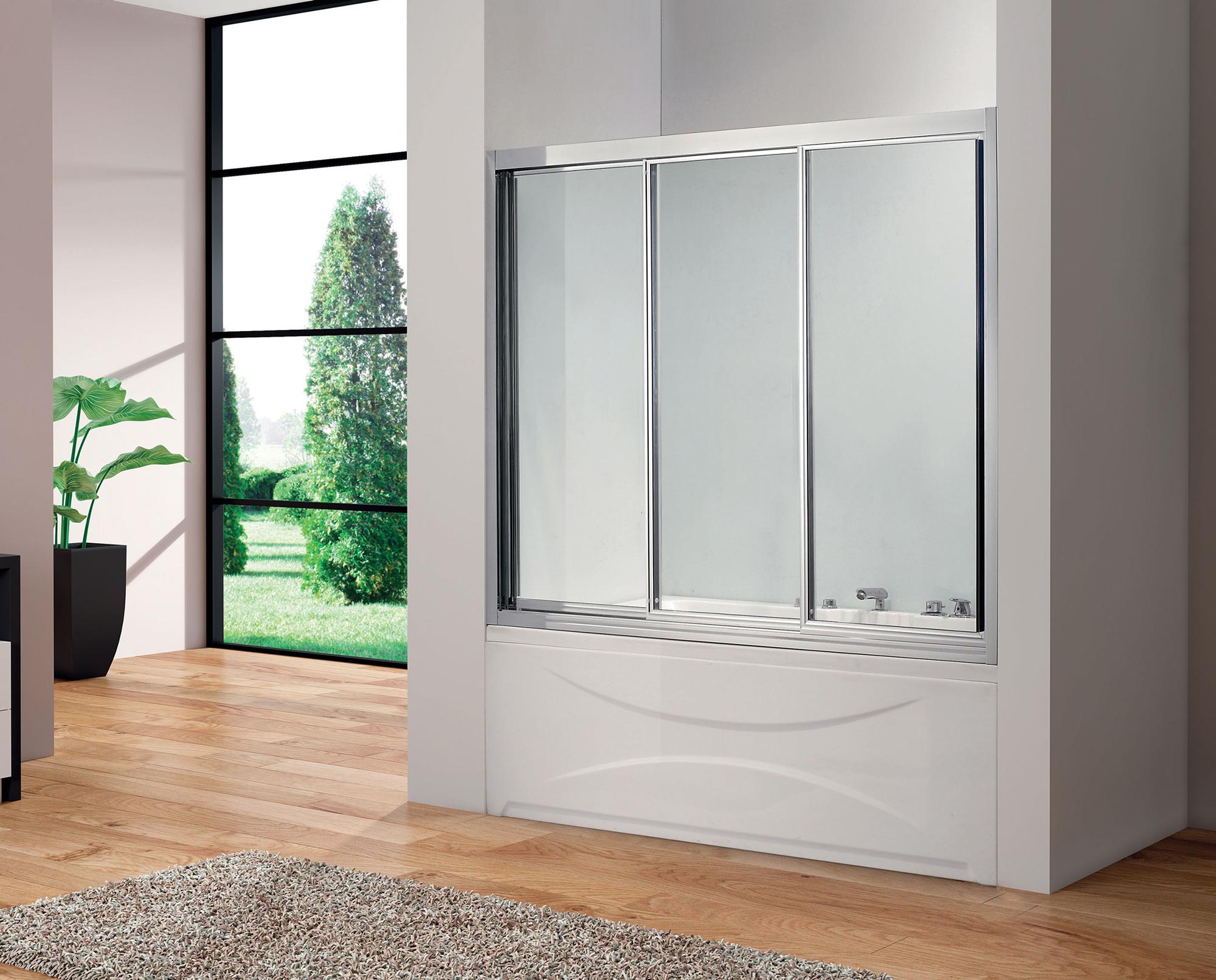 Раздвижная трехсекционная стеклянная шторка для ванной