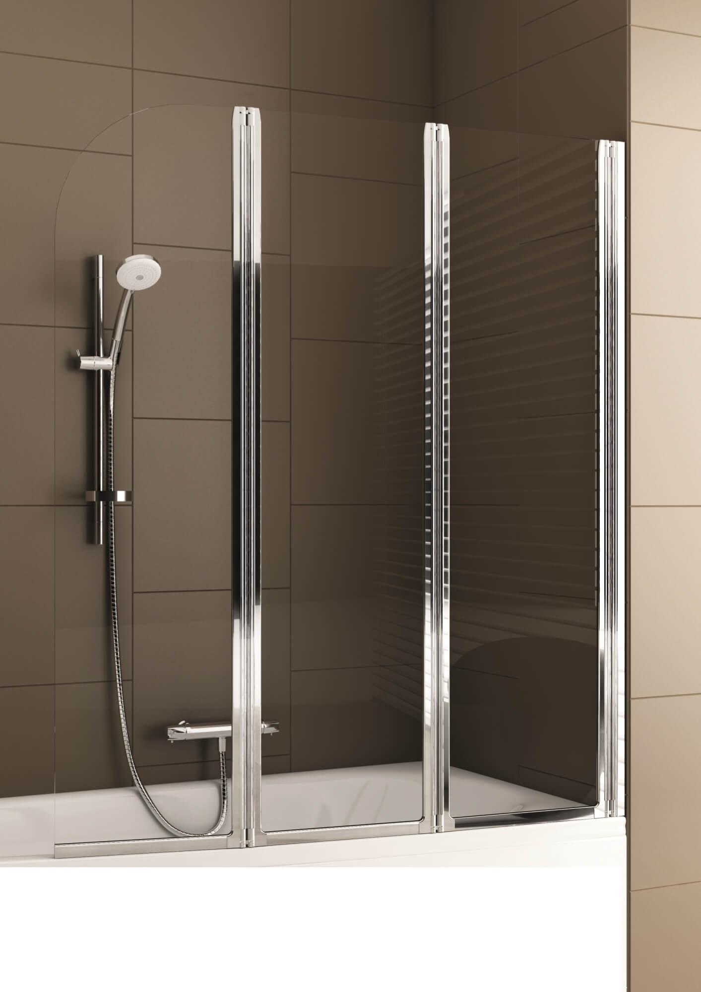 Складная шторка для ванной из стекла и металла