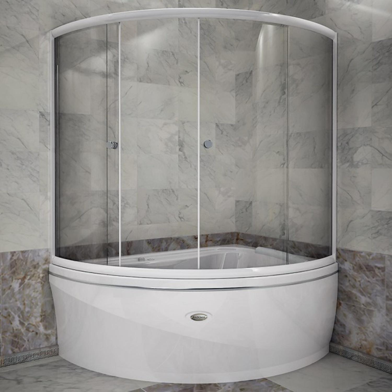 Угловая ванная с раздвижной стеклянной шторкой