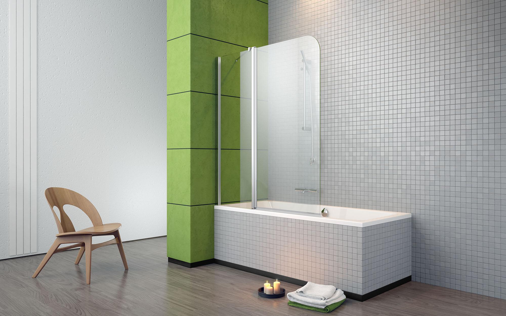 Стеклянная шторка в бело-зеленой ванной комнате
