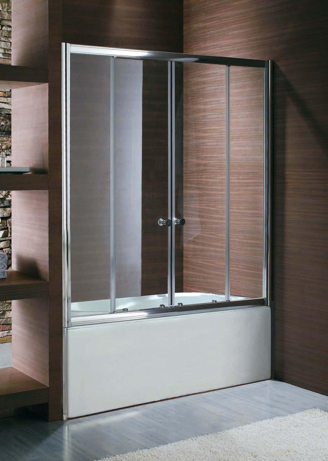 Стильная стеклянная шторка в ванной