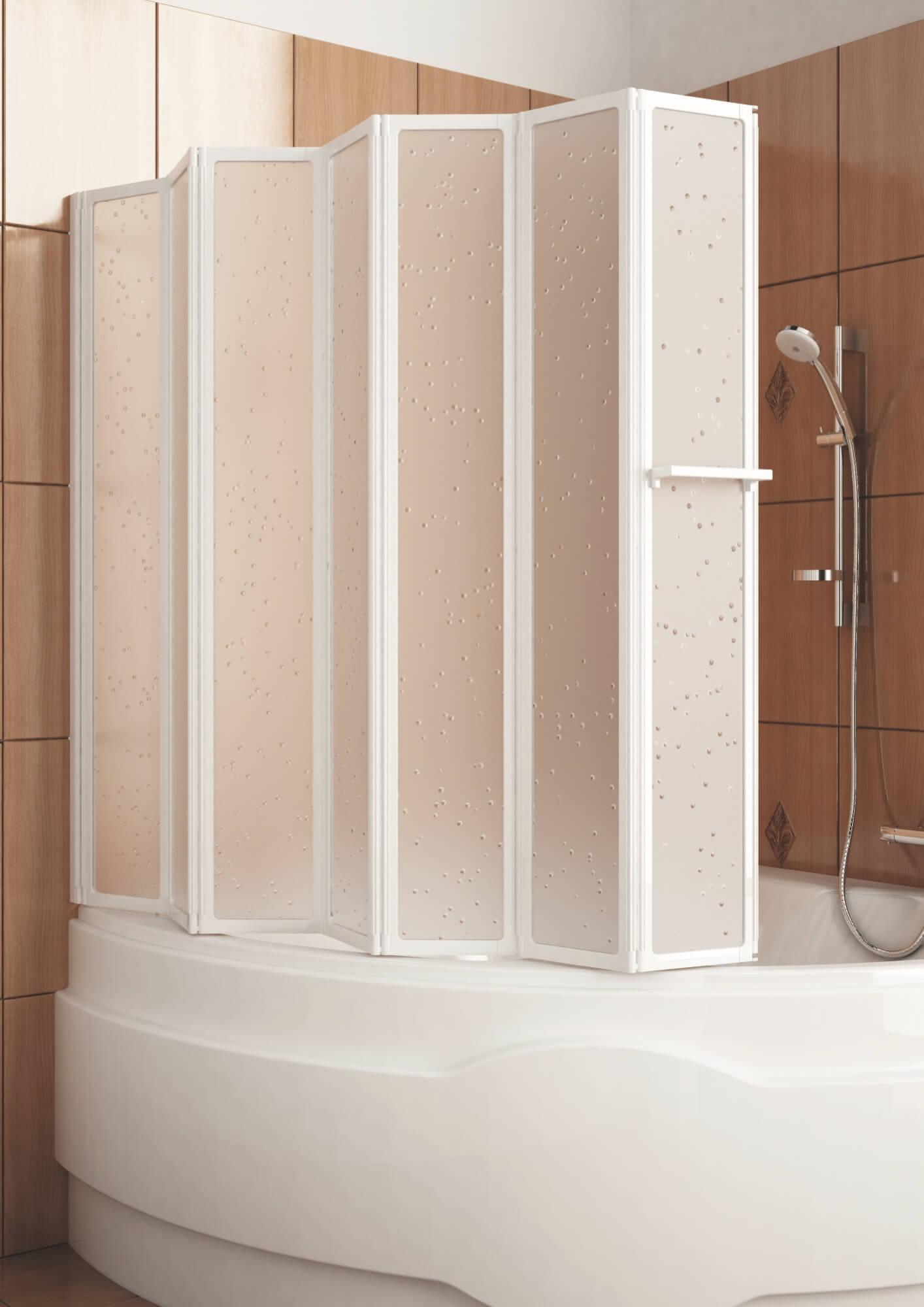 Складная стеклянная шторка для угловой ванной