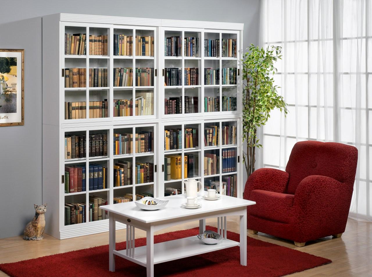 Большой книжный стеллаж в гостиной