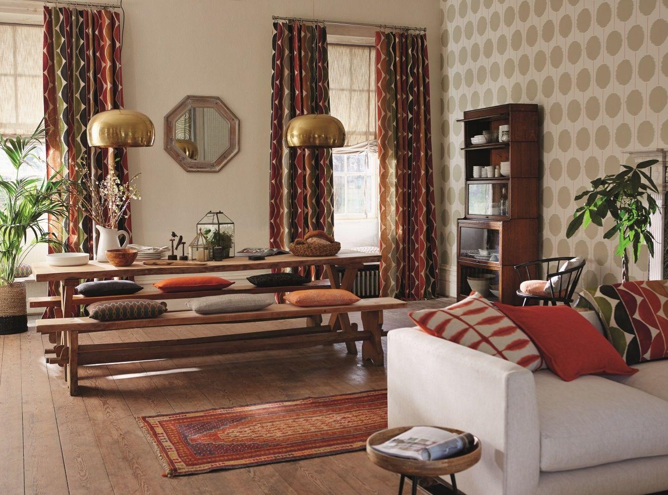 Шторы в этническом стиле в гостиной