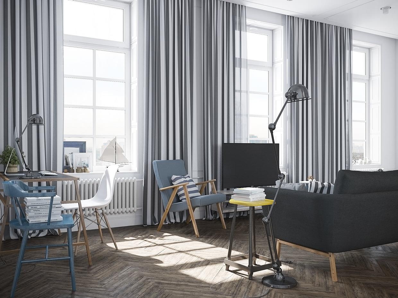 Шторы в скандинавском стиле в гостиной