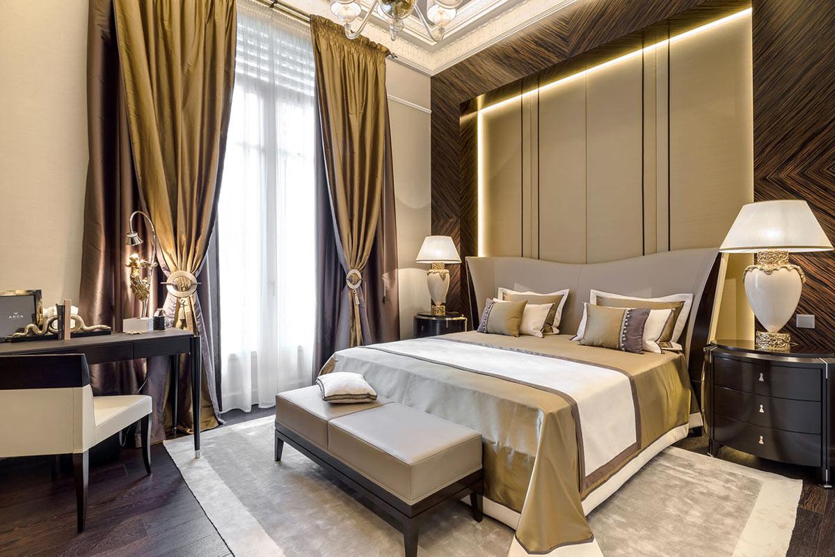 Шторы в стиле модерн в спальне