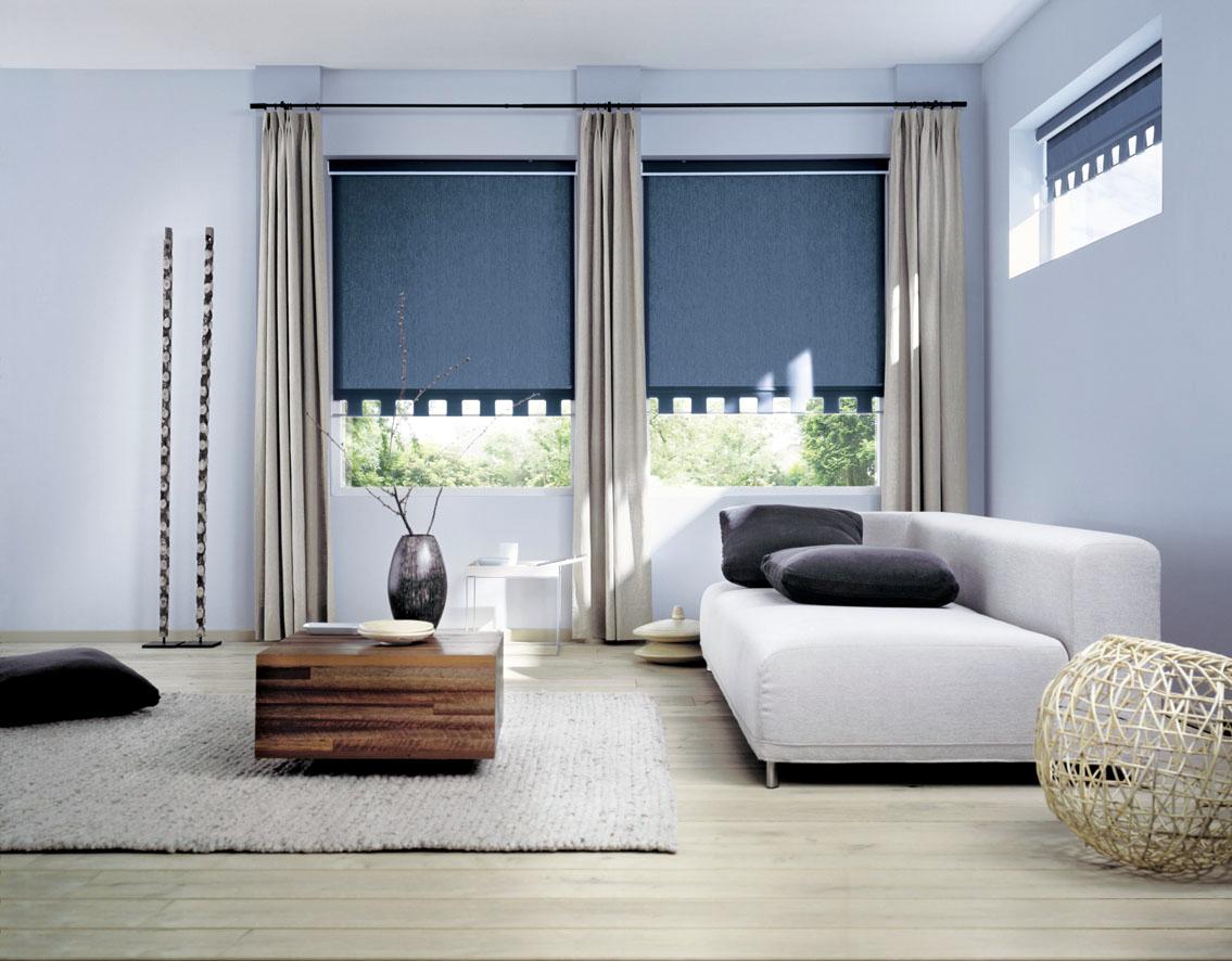 Рулонные синие шторы в современной гостиной