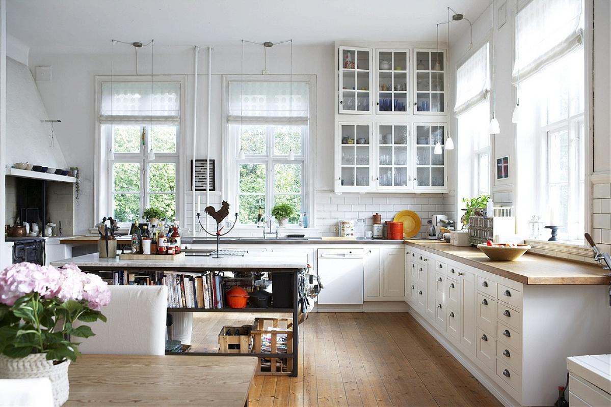 Римские шторы в скандинавском стиле на кухне