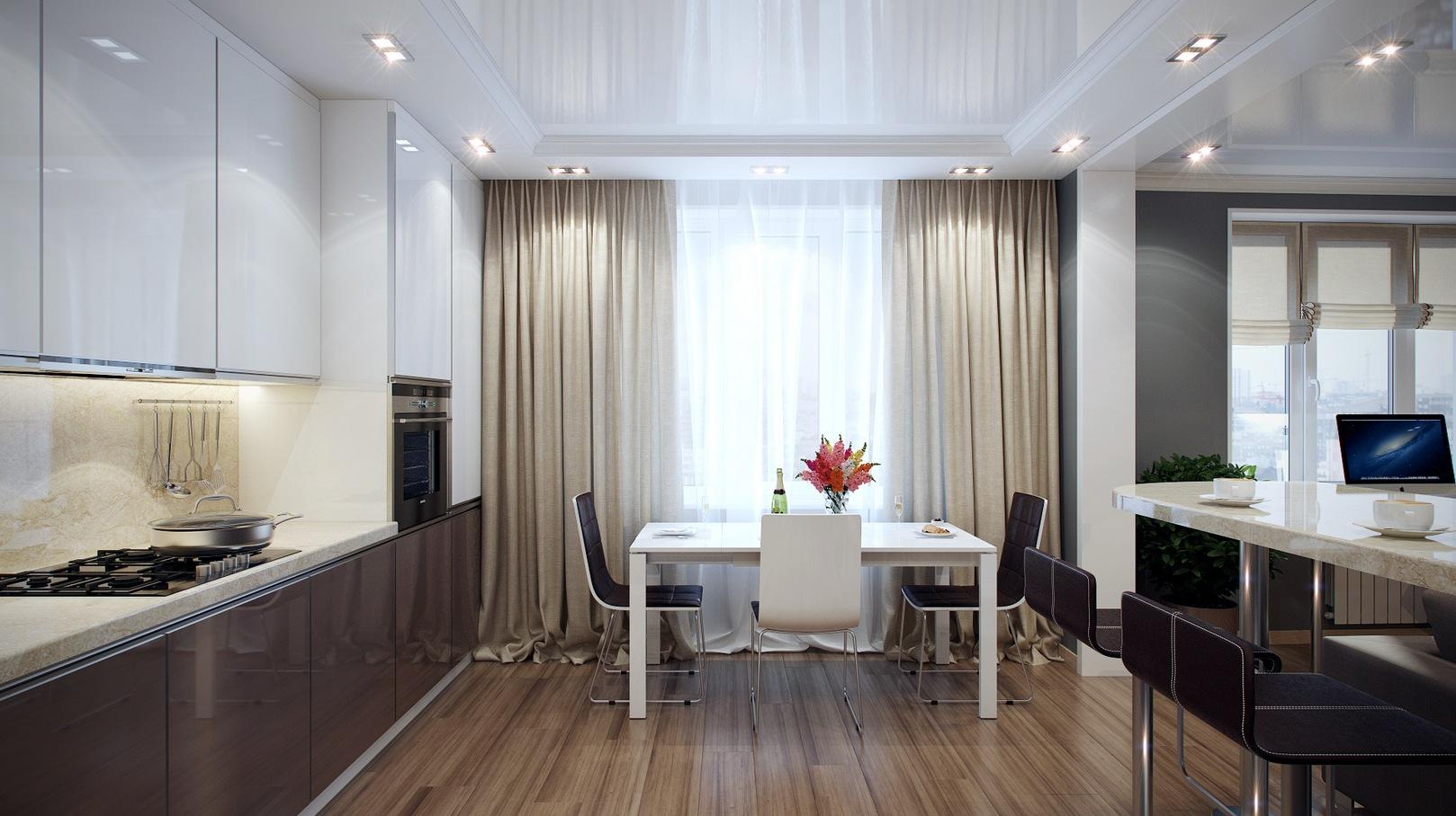 Кремовые шторы в стиле хай-тек на кухне