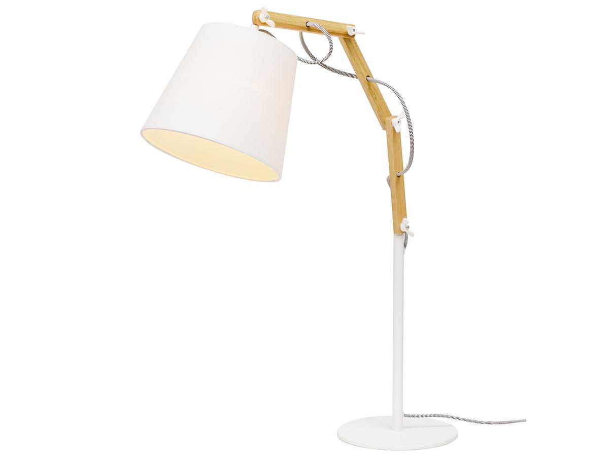 Настольная лампа из дерева и металла