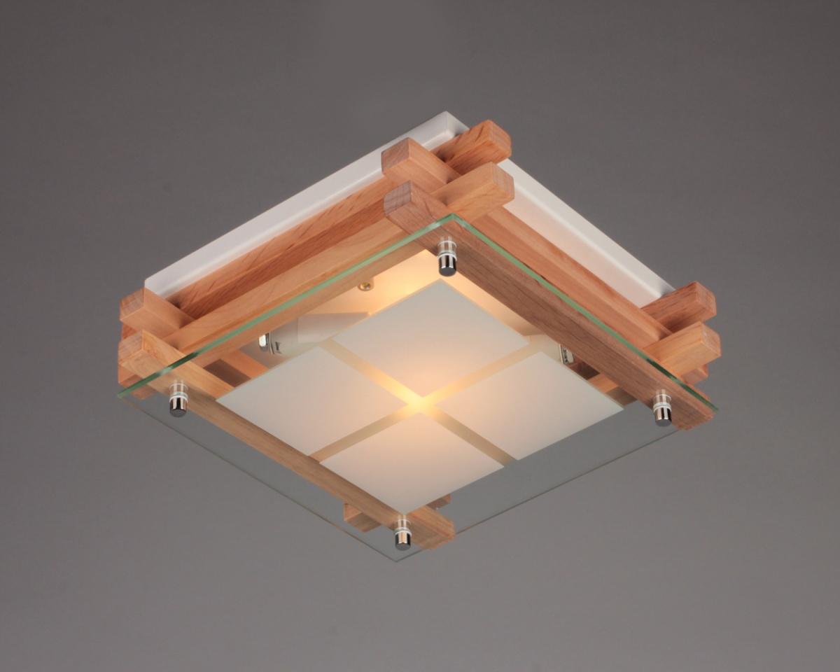 Накладная люстра из дерева, металла и стекла