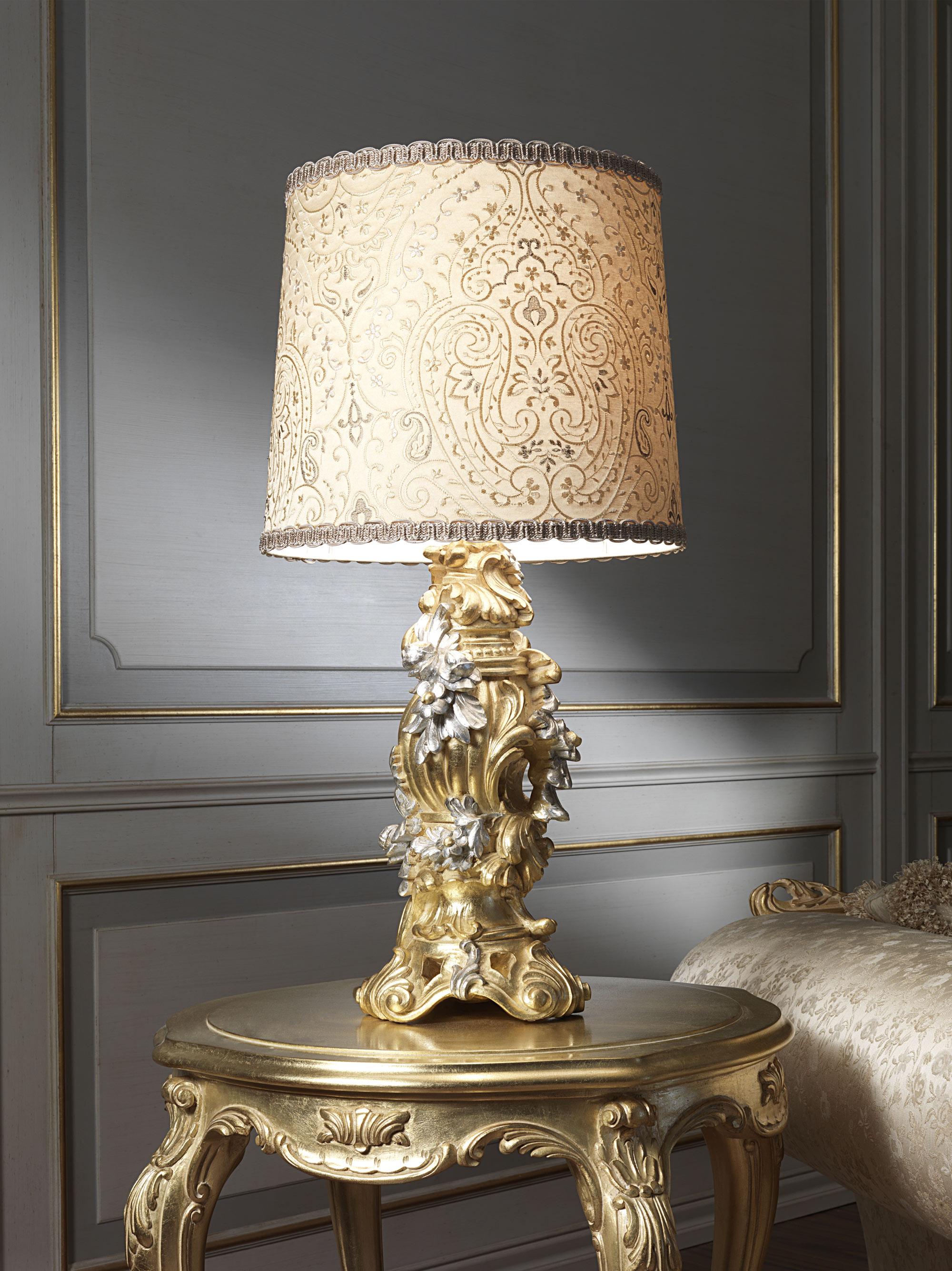 Классическая прикроватная лампа с вышитым абажуром
