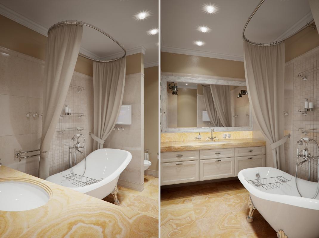 Точечные светильники в классической ванной