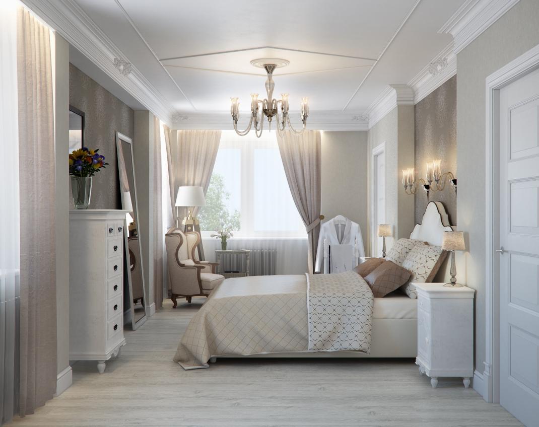 Классическая люстра в спальне