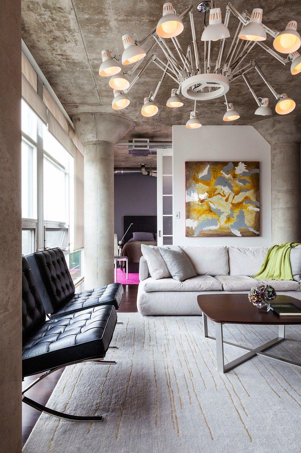 Люстра в стиле лофт в гостиной