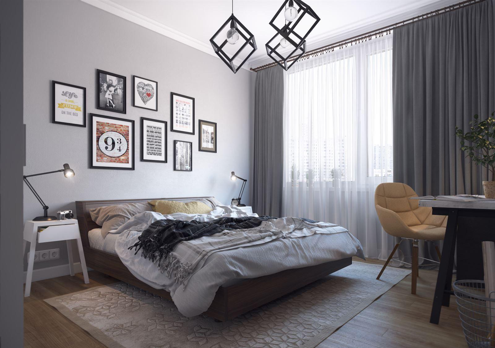 Люстра в стиле лофт в спальне