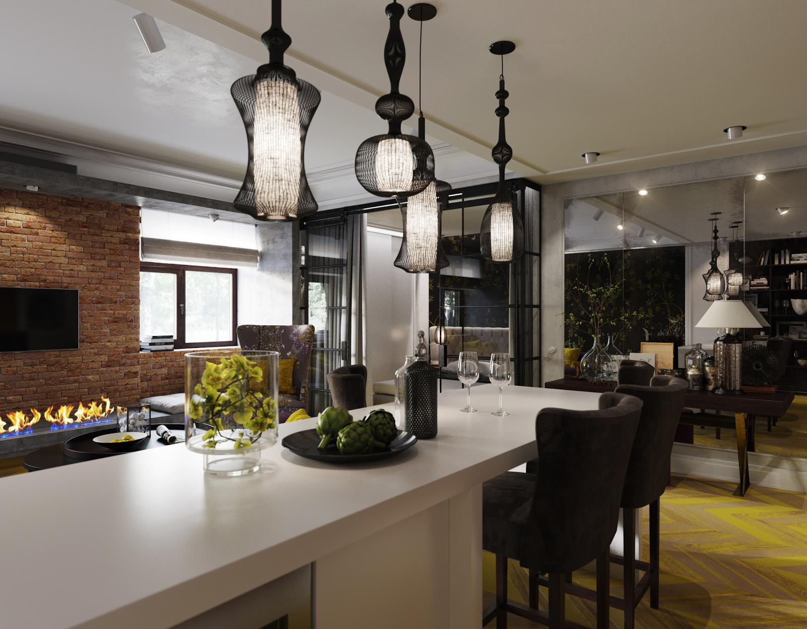 Люстры в стиле лофт в гостиной-столовой