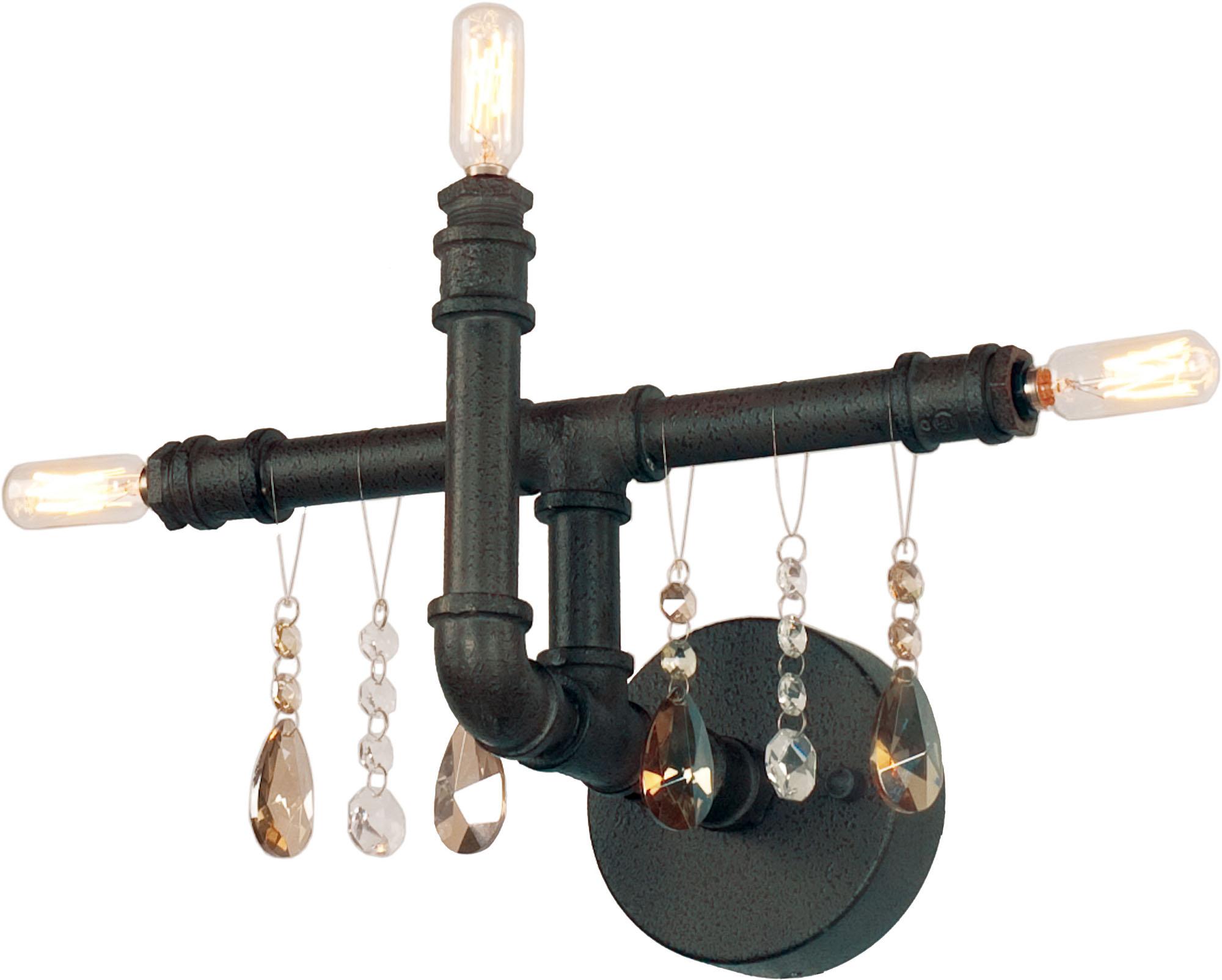 Настенное черное бра в стиле лофт на три лампы