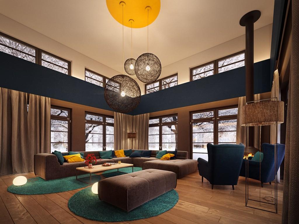 Круглые люстры в стиле модерн в гостиной