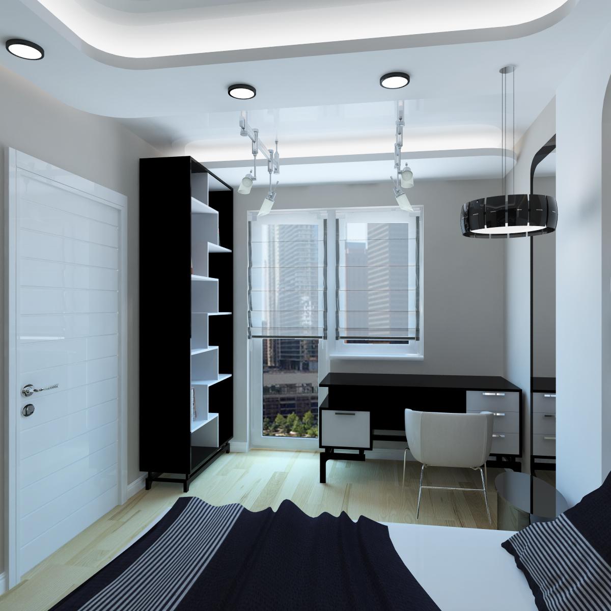 Люстра и точечные светильники в интерьере спальни с рабочим местом в стиле хай-тек