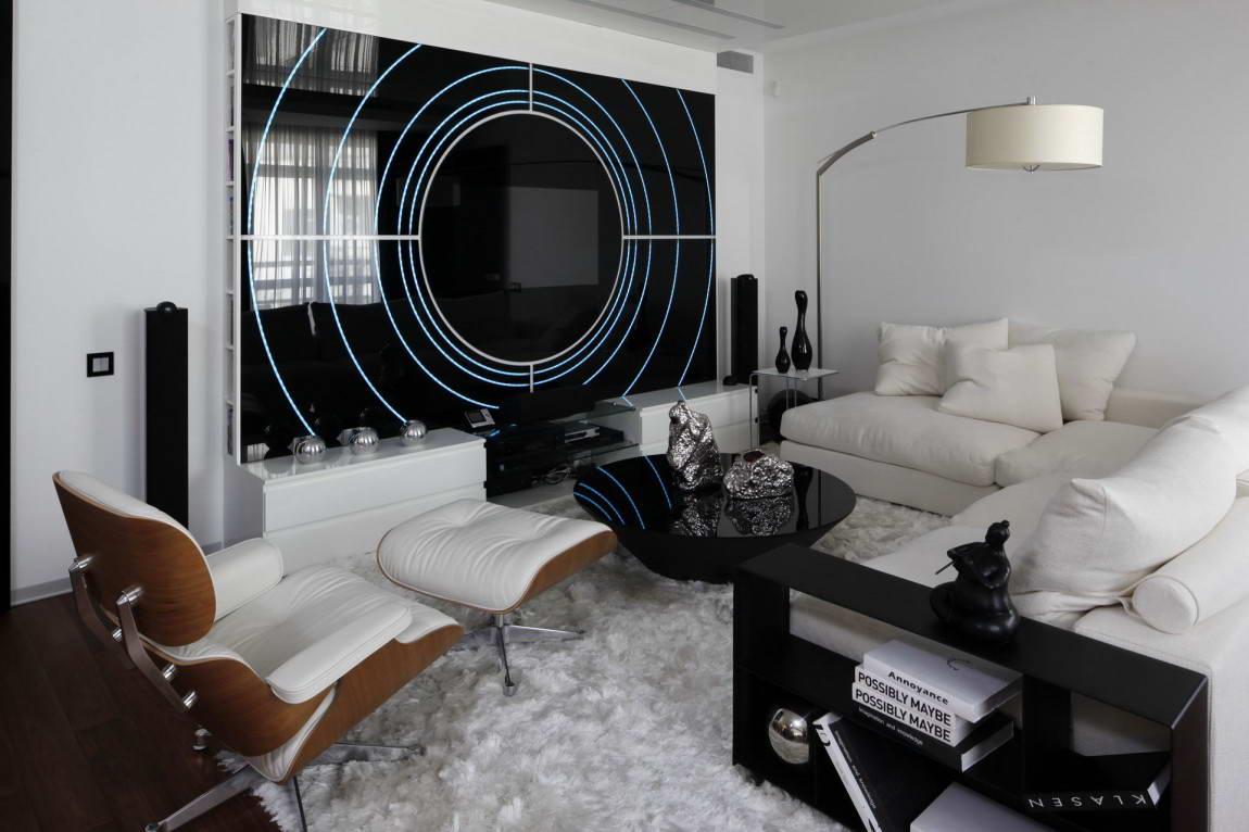 Торшер в гостиной в стиле хай-тек